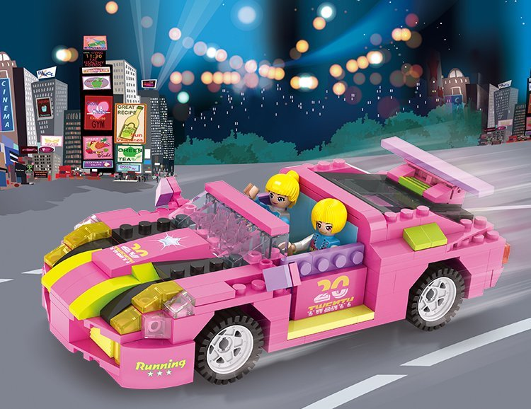 COGO积高跑车公主256片积木儿童玩具益智拼木游玩家正方形积木图片