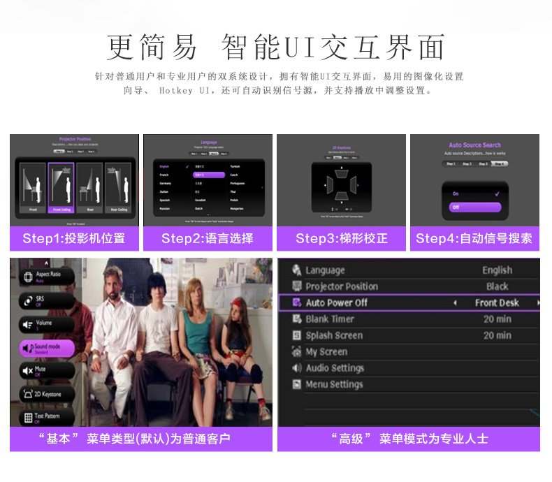 BenQ 明基 W1070+ 全高清1080P蓝光3D家用投影机(自营赠品3D眼镜需加入购物车)