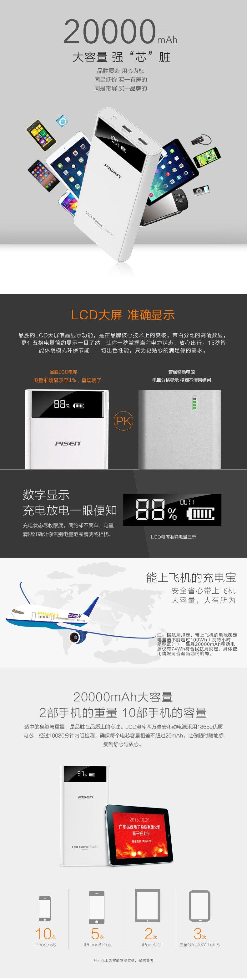 Pisen 品胜 移动电源 LCD电库二代20000mAh 双USB输出 手机/平板通用充电宝