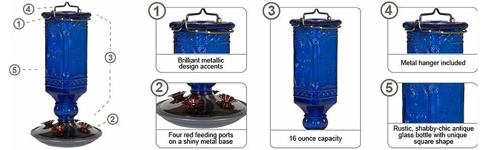 Perky-Pet 16 oz. Cobalt Blue Antique Bottle Hummingbird Feeder