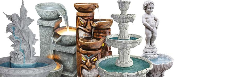 fountains, outdoor fountains, indoor fountains, fountains with lights, garden fountains