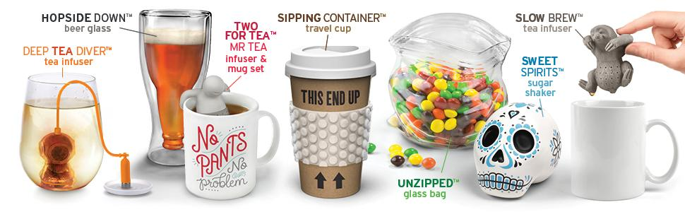 table, fred, fred and friends, kitchen, mugs, gadgets, tea infusers, beer glass, snack bags