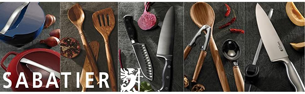 Sabatier, cutlery, knives, cookware, pots, pans, kitchen utensils, mother of pearl, olivewood,bamboo