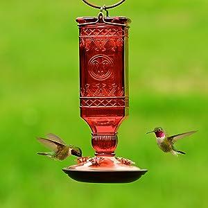Perky-Pet 24 oz. Red Glass Antique Bottle Hummingbird Feeder