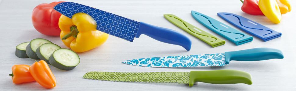 Farberware knives, kitchen knives, ceramic knives, color knives, resin knives