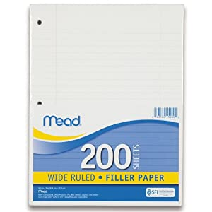 Mead Filler Paper, 200-Count, Wide Ruled, 10-1/2 x 8 Inches