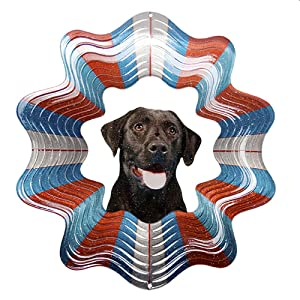 Iron Stop 10 Inch Designer Black Labrador Pet Wind Spinner