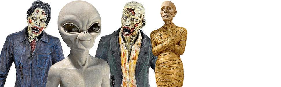 halloween decor, zombies, mummies, aliens