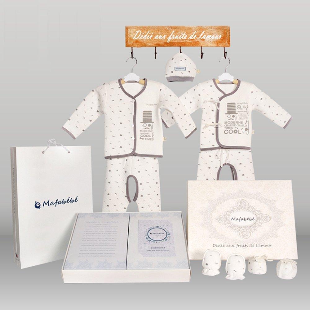 Mafabébé 初冬纯棉新生婴儿宝宝保暖礼盒衣服 母婴用品满月礼物套装(9件特厚礼盒装)