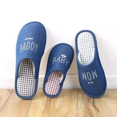 秋冬季情侣家居家棉拖鞋保暖男女一家三口亲子可爱刺绣地板鞋防滑软底棉拖