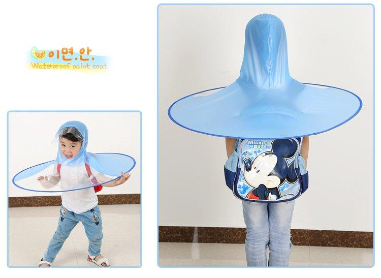 雨天神器创意雨具儿童头盔式雨伞斗篷雨衣雨披头戴透明飞碟伞 祖国的图片