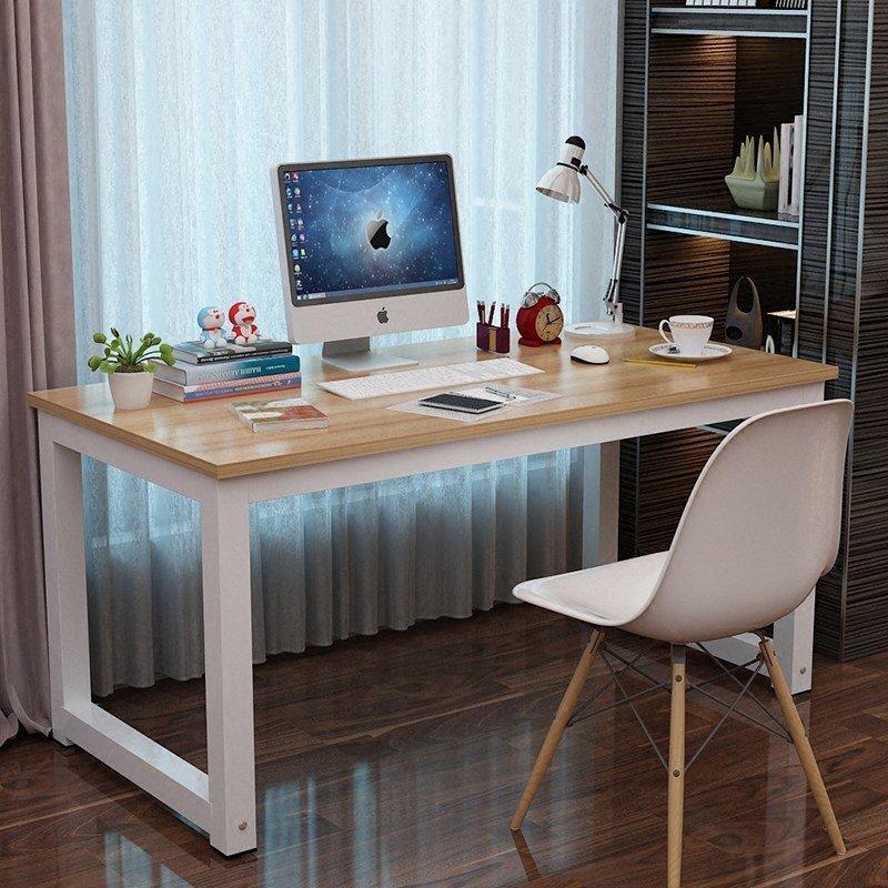 电脑桌台式桌主机笔记本家用经济型书桌写字台简易小孩学习桌书桌餐桌简约现代钢木办公桌子双人桌 (浅胡桃(白色桌脚), 长度80x宽度50cm)