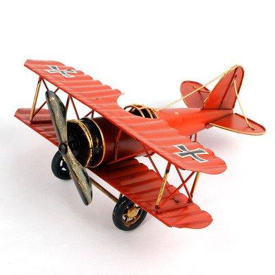 zakka复古做旧大号手工铁艺飞机模型摆件创意家居礼物金属工艺品 (红色)