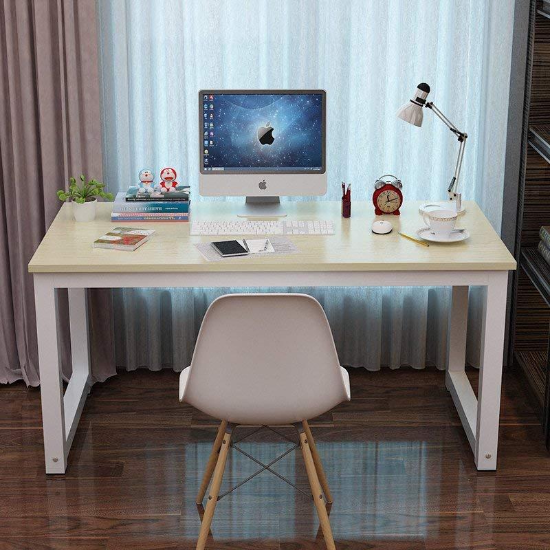 电脑桌台式桌主机笔记本家用经济型书桌写字台简易小孩学习桌书桌餐桌简约现代钢木办公桌子双人桌 (白枫色(白色桌脚), 长度80x宽度50cm)