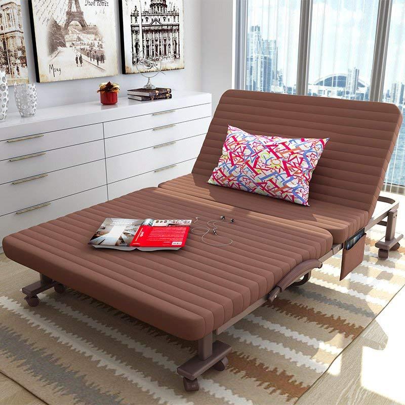 折叠床单人午睡床双人床办公室躺椅午休床家用床成人1.2米隐形床 (66cm 咖啡色)