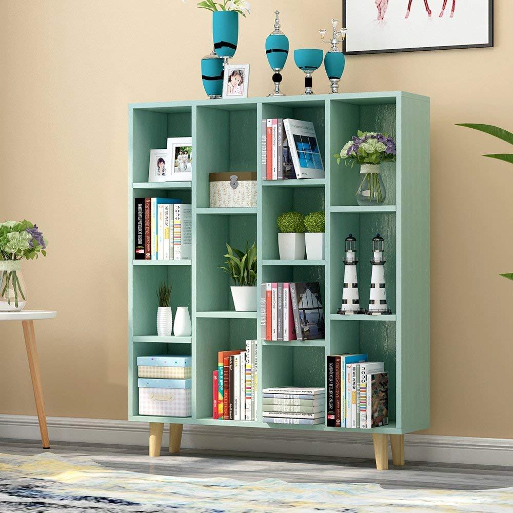 现代简约书柜格子储物柜屏风餐厅边桌餐具柜玄关鞋柜E1级板材收纳柜学生书柜 (宝石绿 5格)