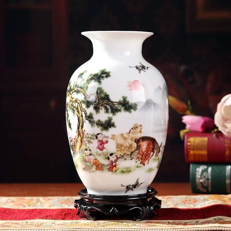 景德镇手工陶瓷中式客厅博古架青花瓷花瓶插花花器工艺品实木底座陶瓷摆件 (三阳开泰冬瓜瓶(实木底座))