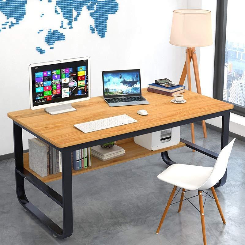 书桌学生学习桌子台式电脑桌笔记本加粗钢木桌家用简约办公桌经济型卧室小桌 (加粗黄梨木色(120x60)【推荐】)