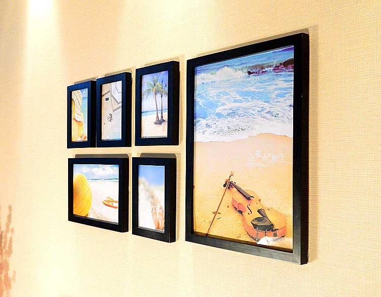shoujia首佳环保实木6相框自由组合照片墙( 50 x 40 x