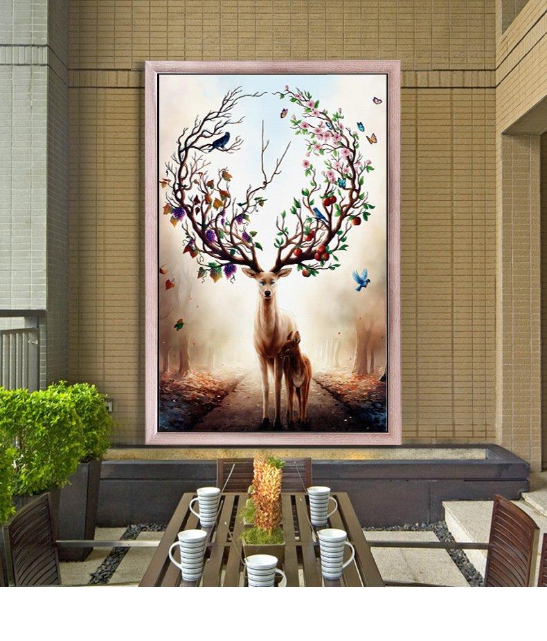 莱朗 北欧风客厅玄关装饰画 糜鹿油画布室内壁画现代简约走廊挂画