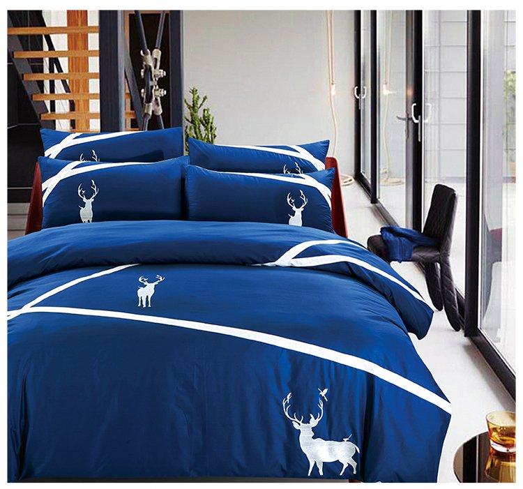 可慕家纺 欧式简约时尚绣花全棉床上四件套纯棉 床品套件b (西丽娜