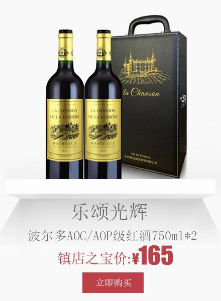 La Chanson de La Lumière 乐颂光辉 波尔多AOC/AOP级红酒 干红葡萄酒两支礼盒