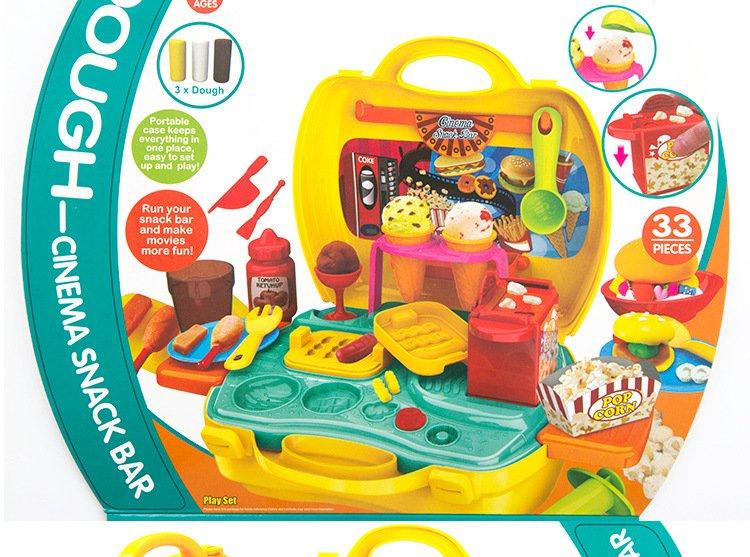 橡皮泥不干3d彩泥儿童益智玩具无毒超轻粘土过家家手提箱 (恐龙模型)