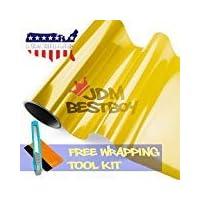 JDMBESTBOY 免费工具套件 30.48 厘米 x 152.4 厘米(1 英尺 x 5 英尺)亮金黄色 3000k 色调大灯雾灯尾灯烟雾乙烯基薄膜自粘