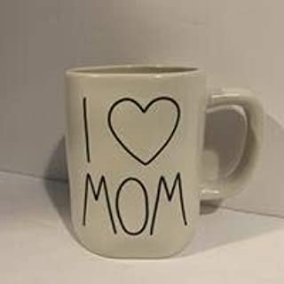 Rae Dunn I LOVE MOM 马克杯 - 陶瓷 - 16 盎司 - 母亲礼物