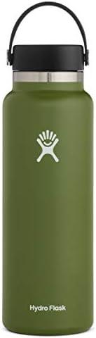 Hydro Flask 水瓶 - 不锈钢真空保温 - 广口 2.0 带防漏弹性帽 - 多种尺寸和颜色 橄榄色 40 oz (1180 ml) Wide Mouth W40BTS306