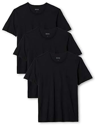 HUGO BOSS 雨果·博斯 男士T恤 Rn 3p Co 休闲T恤, Black (Black 001), Small