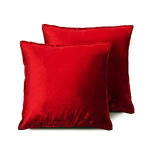 Edow 天鹅绒抱枕(2 件套),柔软蓬松替代涤纶填充装饰枕,适用于家居装饰、沙发、沙发、床、办公室和汽车。 红色 20x20