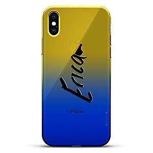 豪华设计师,3D 印花,时尚,高端,变色效果手机壳,适用于 iPhone Xs/X - 黄昏蓝小白色棒球图案LUX-IXCRM2B-NMERICA1 NAME: ERICA, HAND-WRITTEN STYLE 蓝色(Dusk)
