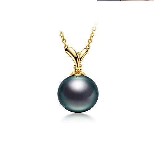 骏禾珠宝 18k黄金 日本AKOYA海水珍珠项链吊坠2017新年礼物 (大溪地黑珍珠)