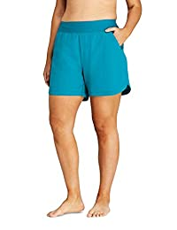 Lands' End 女式加大码舒适腰围 5 英寸游泳短裤配内裤