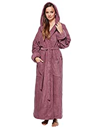 Arus Women's Ankle Length Hooded Soft Twist Turkish Cotton Bathrobe