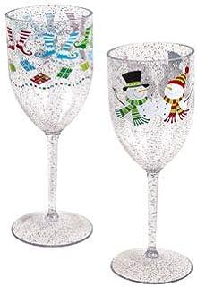 圣诞印花闪光酒杯(2 种款式:长袜和雪人)冬季假日派对用品