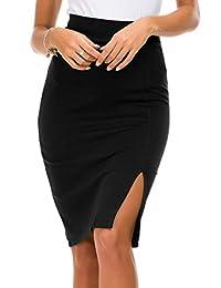 Urban CoCo 女式弹性腰侧开叉下摆紧身铅笔裙