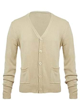 Knit Minded 男式平针织长袖 V 领双口袋系扣开衫毛衣(更多尺码) 灰褐色 Small