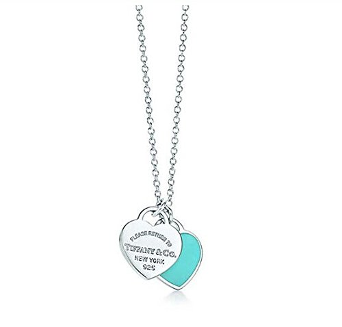 Tiffany & Co 蒂芙尼 女士时尚精美双色双心型项链 -蓝色