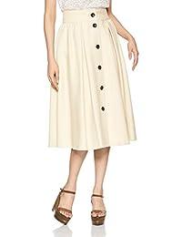 [自然美女基础款] 裙子 前扣 褶皱荷叶边裙 017-9120371 米黄色 日本 M (日本尺寸M相当)