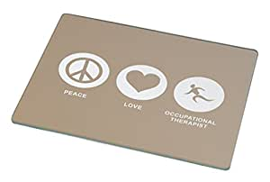 Rikki Knight Peace Love Occupational Therapist Brown Color Large Glass Cutting Board