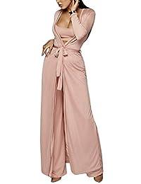 XXXITICAT 女士性感蕾丝透明透视阔腿裤抹胸长款外套套装