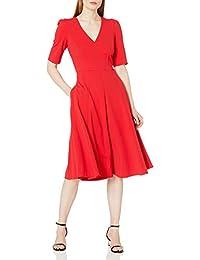 Donna Morgan 女士弹力绉纱 V 领修身喇叭连衣裙