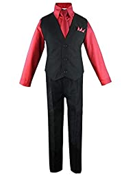 Luca Gabriel 幼童男孩 4 件套背心衬衫领带裤和手帕套装