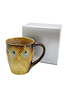 Owl City Elite Couture 陶瓷咖啡杯, Brown w/Yellow 17 Ounce 43235-46052
