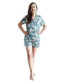 女士可爱丝绸睡衣短袖套装 蓝色 Small