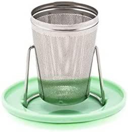 不锈钢茶注入器可双面可用作盖或滴水托盘茶杯,松散叶谷物茶杯 绿色