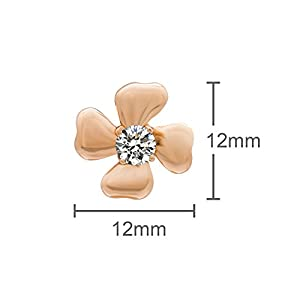 Romantic Time Shamrock Clover 18k Rose Gold Plated Zirconia Stone Windmill Stud Earrings