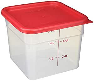 Cambro 食品保鲜盒(聚丙烯) Clear, Red 6 Quart with Lid